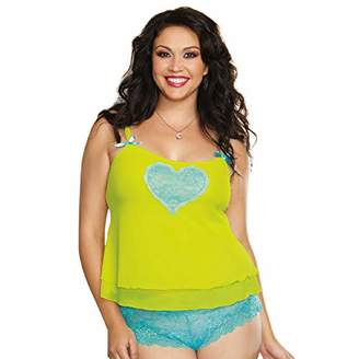 Dreamgirl Women's Plus-Size Queen Size Sexy Sheer Stretch Mesh Camisole with Flirty Contrast Heart Detail and Matching Cheeky Boyshort Panty, Lime/Turquoise, 1-2X