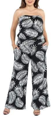 24/7 Comfort Apparel 24Seven Comfort Apparel Chrissy Black Feather Pattern Strapless Plus Size Jumpsuit