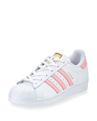 Adidas Superstar Original Fashion Sneaker, White/Pink $80 thestylecure.com