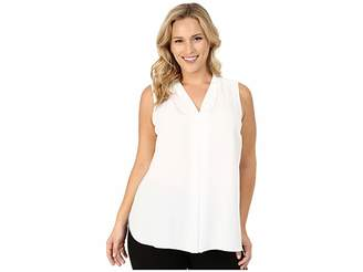 Vince Camuto Specialty Size Plus Size Sleeveless V-Neck Blouse with Inverted Front Pleat