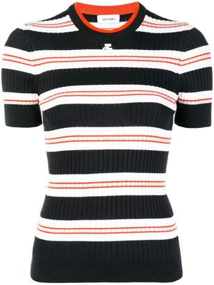 Courreges striped rib knit top