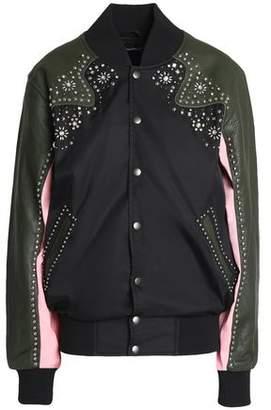 Opening Ceremony Embellished Leather-Paneled Shell Jacket