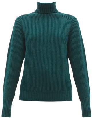 Officine Generale Amanda Roll Neck Ribbed Lambswool Sweater - Womens - Dark Green