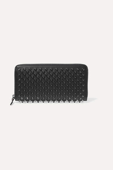 Christian Louboutin  Christian Louboutin - Panettone Spiked Leather Wallet - Black