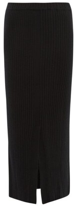 Allude Slit Hem Ribbed Cashmere Skirt - Womens - Black