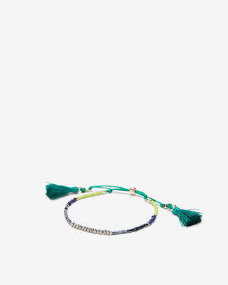 Express Green Faceted Tassel Pull-Cord Bracelet