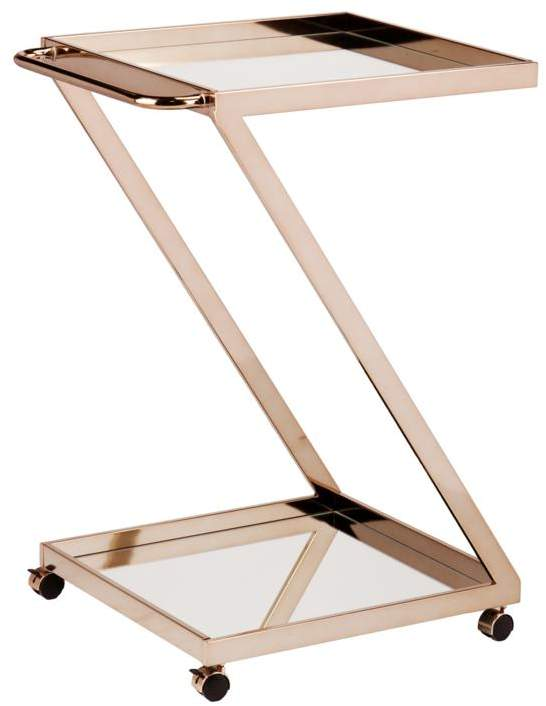 Sleek Rose Gold Bar Cart
