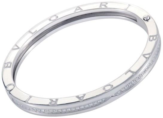 Bvlgari Bulgari B.Zero1 18K White Gold Diamond Pave Bangle Bracelet