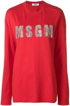 MSGM crystal embellished logo jersey