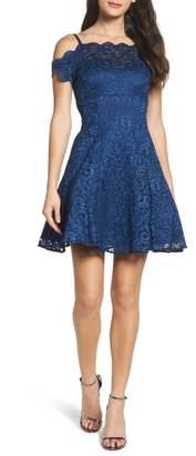 Morgan & Co. Cold Shoulder Glitter Lace Fit & Flare Dress