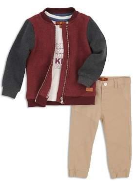 7 For All Mankind Boys' Fleece Bomber Jacket, Graphic Tee & Moto Pants Set - Little Kid