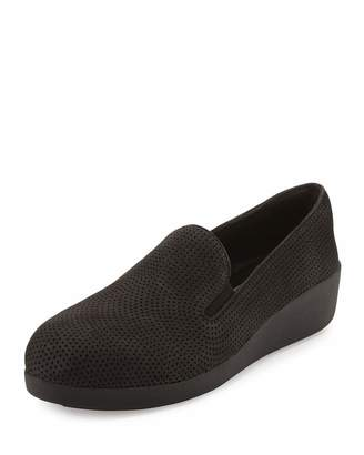 Fitflop F-Pop Perforated Skate Sneaker, Black $99 thestylecure.com