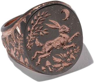 Castro Smith rose gold signet hare engraved ring