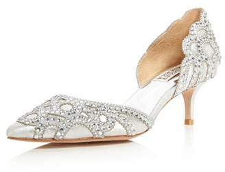 Badgley Mischka Ginny Metallic Suede Embellished d'Orsay Pointed Toe Pumps