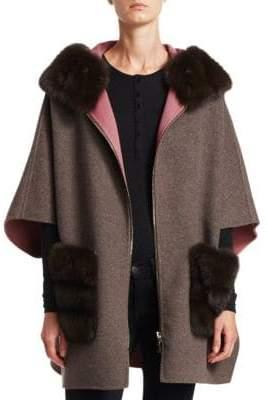The Fur Salon Fur-Trimmed Wool& Cashmere Cape