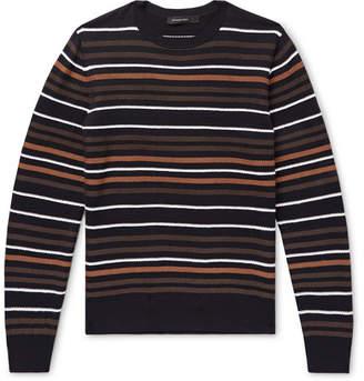 Ermenegildo Zegna Intarsia Striped Wool And Silk-Blend Sweater