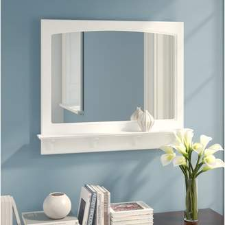 Andover Mills Steubenville White Wood Wall Mirror with Shelf II