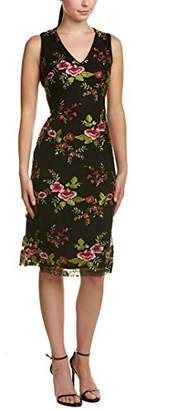 Donna Ricco Women's Sleeveless V Neck Embroidered Mesh Dress