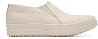 Rick Owens Ivory Boat Slip-On Sneakers $975 thestylecure.com