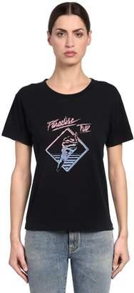 Saint Laurent Paradise Trip Cotton Jersey T-Shirt