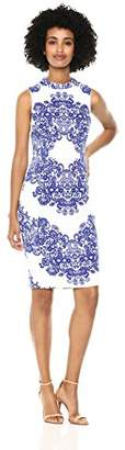Adrianna Papell Women's LACE Printed Mock Neck Sleeveless Dress,4