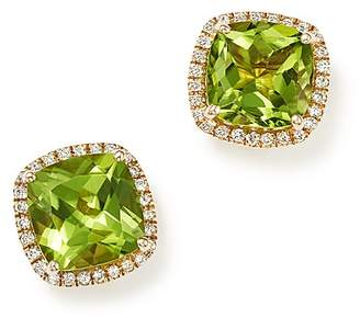 Bloomingdale's Cushion-Cut Peridot and Diamond Halo Earrings in 14K Yellow Gold - 100% Exclusive