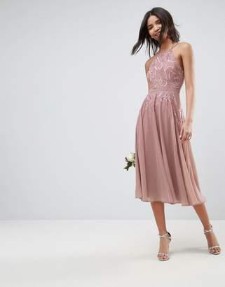 Asos DESIGN Bridesmaid lace Applique cami midi dress