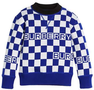 Burberry Paul Racecar Check Logo Sweater, Size 4-14