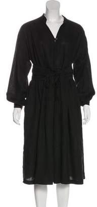 Black Crane Linen Midi Dress