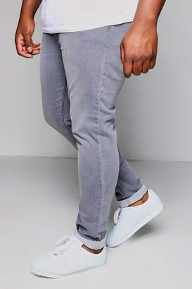 boohoo Big And Tall Grey Skinny Fit Washed Jeans