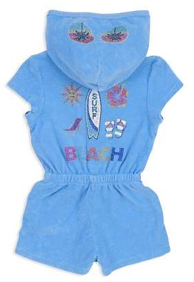 Butter Shoes Girls' Jeweled Beach Graphic Terry Romper - Big Kid