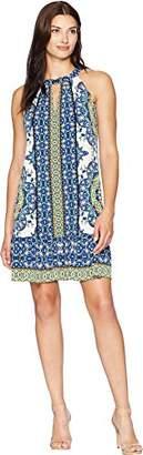 London Times Women's Sleeveless Keyhole Halter Aline Dress