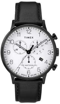 Timex R Waterbury Chronograph Leather Strap Watch, 40mm