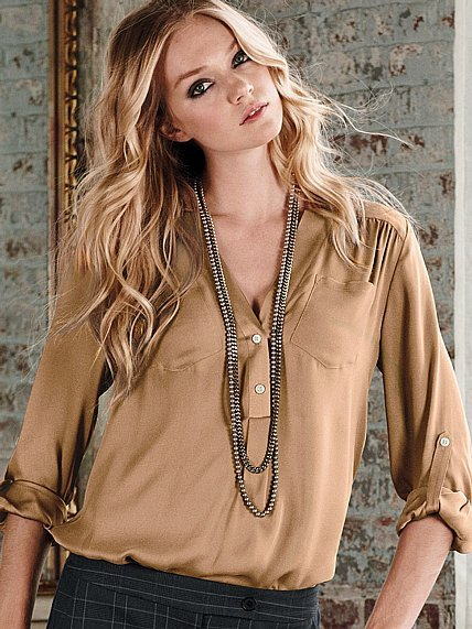 Silk Henley Blouse