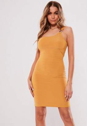 ed08164848d Missguided Yellow One Shoulder Ring Detail Bodycon Mini Dress