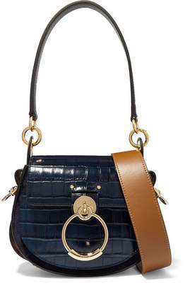 Chloé Tess Small Croc-effect Leather And Suede Shoulder Bag - Navy