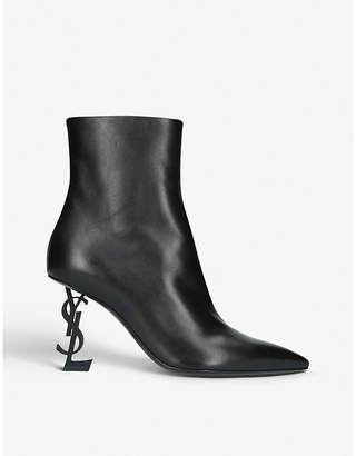Saint Laurent Opyum 85 leather ankle boots