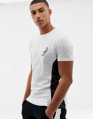 Jack and Jones Core t-shirt with side panel print in curved hem