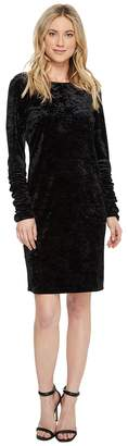 Vince Camuto Ruched Long Sleeve Knit Crushed Velvet Dress Women's Dress