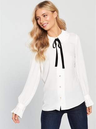 Very Pleated High Neck Blouse - Ivory