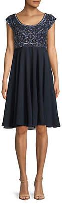 J Kara Bead Bodice Empire Waist Dress