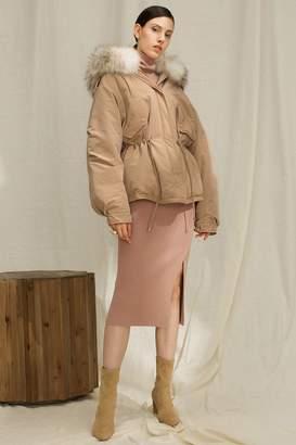 Rll / Studio High Low Fur Trim Hooded Down Coat