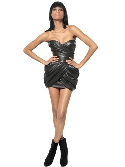 Balmain Gathered Leather Dress