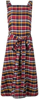YMC check print midi dress