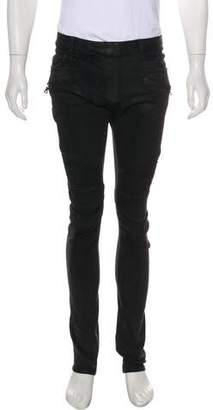 Balmain Wax-Coated Biker Jeans