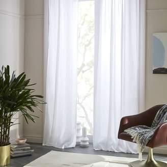 west elm Sheer Belgian Flax Linen Curtain - White