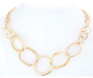 Catherine Malandrino Abstract Ring Curb Chain Necklace in Yellow Gold-Tone Alloy