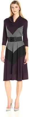 Robbie Bee Women's Missy 3 Color Block Knit Dress, Purple/Black, XL