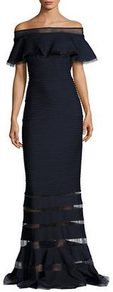 Tadashi Shoji Off-The-Shoulder Gown $419 thestylecure.com
