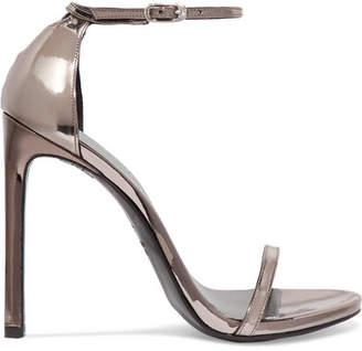 Nudist Metallic Leather Sandals - Charcoal